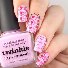 Valentine's day. Heart. Pink.  by didoline. Nail art. Nail design. Polishes. Polish.