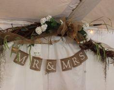 Burlap Banner Banner Photo Prop Wedding by CountryBarnBabe