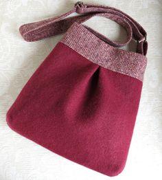 BELLA Purse, Burgundy Sweater Wool and Tweed, Upcycled Handbag/Tote in Repurposed Wool