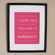 Barbados Art Print I Love You From Here To by HopSkipJumpPaper, $14.00