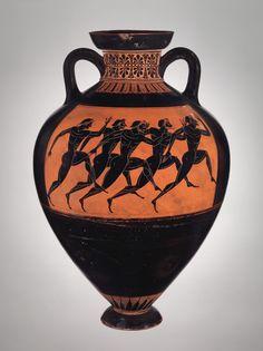 Terracotta Panathenaic prize amphora  Attributed to the Euphiletos Painter Period: Archaic Date: ca. 530 B.C. Culture: Greek, Attic Medium: Terracotta; black-figure Dimensions: H. 24 1/2 in. (62.2 cm)