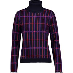 Carven Metallic checked wool-blend jacquard turtleneck sweater (2.949.610 IDR) ❤ liked on Polyvore featuring tops, sweaters, midnight blue, metallic turtleneck, ribbed sweater, turtle neck top, loose fitting sweaters and jacquard sweater