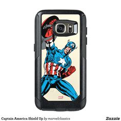 Captain America Shield Up OtterBox Samsung Galaxy Case. Awesome Marvel Classics: Captain America designs to personalize as a gift for yourself or friends and family. Wonderful comic book hero gift ideas for birthdays. Captain America Merchandise, Captain America Shield, Galaxy Phone Cases, Iphone Cases, Galaxy S7, Samsung Galaxy, S7 Case, Incredible Hulk, Comic Book Heroes