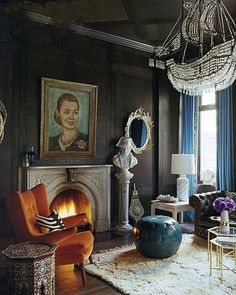 orange accent chair+ship chandelier+Jonathan Adler :: Interior Design
