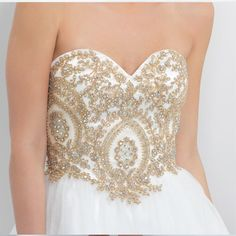 Sweet Party Dress 2015 Homecoming Sweetheart Organza Lace Beaded Sparkly Plus Size Short Prom Dresses White and Gold