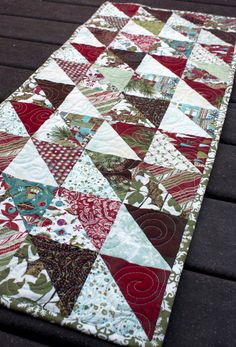 christmas table runner // SALE // quilted by olivetreetextiles