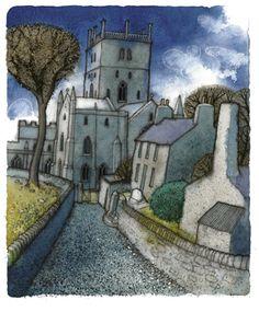 """Chris Neale paints Welsh scenes SO sympathetically I'm always happy to post one by him Ty Ddewi (St David's) Nos Da"" Contemporary Landscape, Landscape Art, Landscape Design, Bristol, Erin Hanson, Naive Art, Devon, Art Plastique, Print Artist"