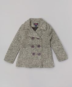 Another great find on #zulily! Gray Herringbone Peacoat - Toddler & Girls by Unik #zulilyfinds