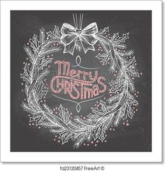 Hand-lettering Merry Christmas with Christmas wreath on blackboard with chalk. Free art print of Christmas wreath with chalk. Christmas Chalkboard Art, Chalkboard Decor, Christmas Drawing, Christmas Art, Christmas Wreaths, Halloween Chalkboard Art, Christmas Window Display, Free Art Prints, Chalk Drawings