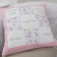 Personalised Bunny Memory Cushion** by Tuppenny House Designs, the perfect gift for Explore more unique gifts in our curated marketplace. Little Girl Gifts, Little Girls, Baby Bunnies, Bunny, Charm Quilt, Patchwork Cushion, Handmade Cushions, Printed Cushions, Baby Pillows