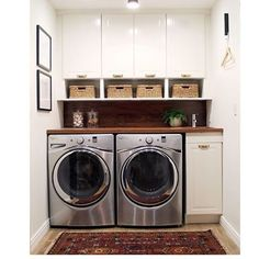 Let's talk laundry rooms shall we? What are your MUST HAVE can't live without features? What do you hate about yours? Do you love your washer and dryer stacked or unstacked? Cabinets? Shelves? Tell me everything!! Loving this gorgeous space by @chrislovesjulia