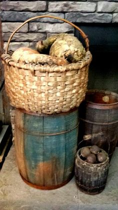 Basket of gourds --- Well, not exactly like this, but love the blue keg & firkins….