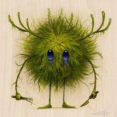 "Jeff Soto ""The Gardener"" Seeker Holzdruck - strokes of genius - illustrated - Cute Monsters, Little Monsters, Monster Art, Fantasy Kunst, Fantasy Art, Cute Creatures, Fantasy Creatures, Art Fantaisiste, Art Mignon"