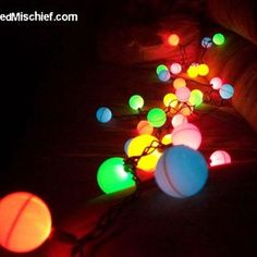 Cut a X in a ping pong ball and put them over christmas lights! Must do this for outside, great idea