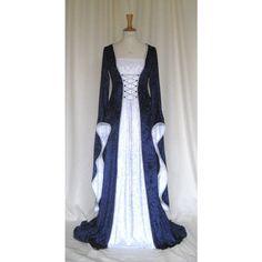 Erin, una medievale, gotico, Rinascimento, Larp, Pagan, Abito da sposa... ($275) ❤ liked on Polyvore featuring dresses, medieval, medieval dresses and robes