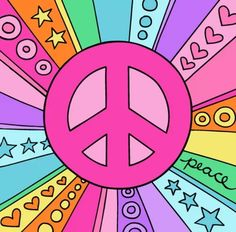 ☮ American Hippie Psychedelic Art ~ Pink Peace Sign