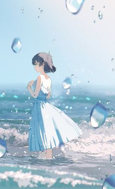 Beautiful Anime Girl, Anime Girl Cute, Kawaii Anime Girl, Anime Art Girl, Manga Art, Pretty Art, Cute Art, Anime Summer, Anime Scenery Wallpaper