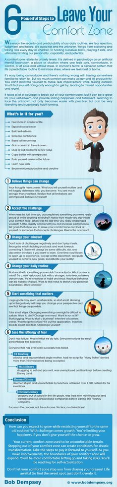 Comfort Zone: 6 Powerful Steps to Leave It  [by Bob Dempsey -- via #tipsographic]. More at tipsographic.com