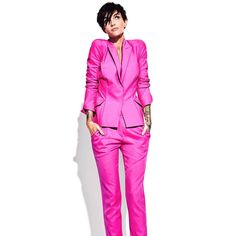 Hot Pink Fashion, Pink Suit, Ruby Rose, Duster Coat, Suits, Instagram Posts, Jackets, Blazers, Style