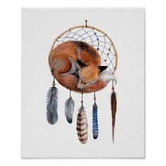 Fox/Dreamcatcher. Would love this as a tattoo with the feathers being the kids' birthstone colors.