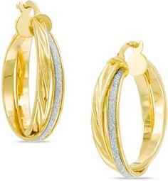 Zales Glitter Enamel Overlay Hoop Earrings in 10K Gold