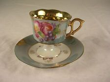 Royal Halsey Demitasse Cup and Saucer Luster Roses and Fruit  Gilt