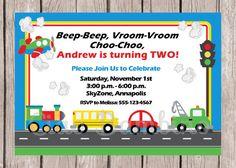 PRINTABLE Transportation Birthday Party Invitation / Cars