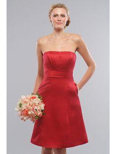 Cute Burgundy Bridesmaid Dress Strapless Knee Length