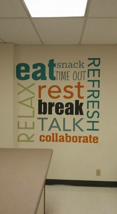 Such a cute idea for a break room!