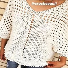 Crochet Poncho Patterns, Crochet Shawl, Crochet Top, Knitting Patterns, Crochet Woman, Crochet Fashion, Crochet Clothes, Pullover, Clothes For Women