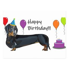 This cute Dachshund has dressed up just for the occasion to wish the Dachshund lover in your life a Happy Birthday! A black and tan dachshund in a party hat. Balloons surrounding him and a cake at his feet. Happy Birthday Dachshund, Happy Birthday Friend, Birthday Wishes Funny, Puppy Birthday, Happy Birthday Images, Happy Birthday Greetings, Sister Birthday, Birthday Quotes, Birthday Blessings