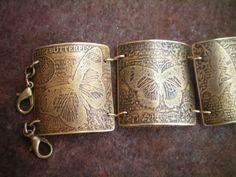 butterfly bracelet etched butterflies by RescuedAngelsStudio, $48.00