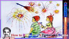 How to Draw Fireworks Scene | Diwali 2017 | How to Draw Cartoon Characters