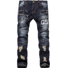 New Mens Ripped Jeans 100% Cotton Brand Designer Denim Distressed Jean Size 30-38
