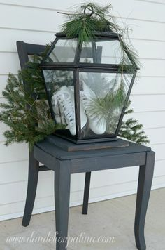 Simple rustic style incorporated on the front porch to transition through the winter months. Annie Sloan graphite chair. http://www.dandelionpatina.com (scheduled via http://www.tailwindapp.com?utm_source=pinterest&utm_medium=twpin&utm_content=post562559&utm_campaign=scheduler_attribution)