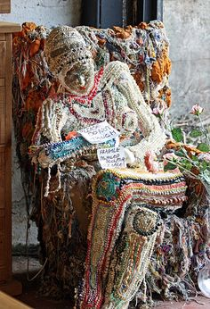 Bead and fibre sculpture.. artist unknown