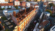 View of the roof of the Colston Street flats after the fire