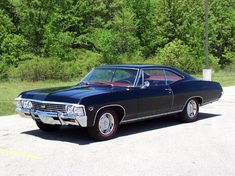 "obsessed. restoring one with my dad, '67 chevy impala (not an ss).  black exterior with black vinyl top and red vinyl interior! fave place to be"" behind the wheel cruisin #chevroletimpala2013"