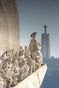 Portugal Travel Inspiration - Lisboa, Discovery monument at Belém facing the Christ the King monument on the south side of Tagus river Sintra Portugal, Spain And Portugal, Algarve, Places Around The World, Around The Worlds, Places To Travel, Places To Visit, Grande Hotel, Voyage Europe