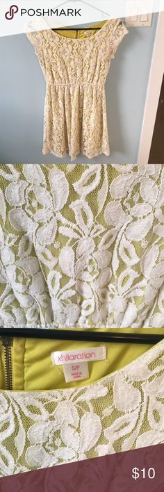 Lime green lace dress! Perfect summer dress for any casual occasion! Pairs well with booties and a belt! EUC Xhilaration Dresses