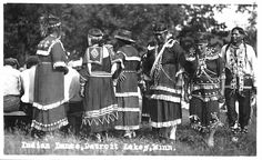 Indian dance at White Earth, June 14.  Photograph Collection, Postcard, 1925