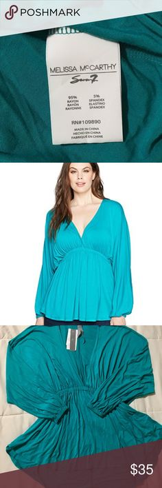 Melissa McCarthy Seven 7 V-Neck Teal Top Melissa McCarthy Seven7 Deep V Blouse in Teal. 95% rayon, 5% spandex.   See photos for measurements.   A115 Melissa McCarthy Seven7 Tops Blouses
