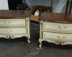 """Two matching vintage French provincial nightstands by Drexel """"Touraine"""""""