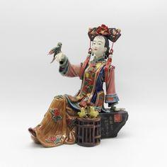Antigüedad Chino Dama Cerámica Estatua Pura Manual Figura Arte Coleccionable Porcelana Figurilla Navidad Pintado Clásico Hogar Decoración(China (Mainland))