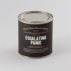 """Hoxton Street Monster Supplies' Tinned Fear  Each tin contains the precise emotion on the label, prepared in the form of boiled sweets and these specially commissioned stories: """"A Vague Sense of Unease"""" by Laura Dockrill, """"The Collywobbles"""" by Nick Hornby, """"The Heebie Jeebies"""" by David Nicholls, """"Escalating Panic"""" by Joe Dunthorne, and """"Mortal Terror"""" by Zadie Smith."""