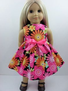 Chocolate Floral Dress for the American Girl Doll