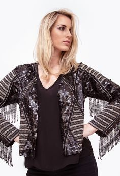 EMBROIDERY JACKET BLACK SEQUIN JACKET JOULIK