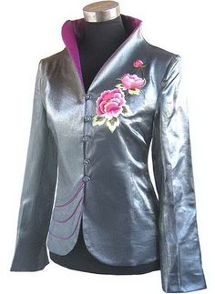 #idreammart Periwing Silver Taffeta V Collar Peony Embroidery Chinese Jacket - iDreamMart.com