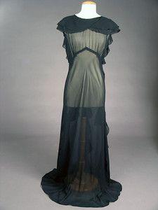 Black Chiffon Evening Gown, 1930s