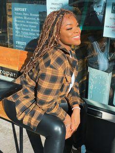 Nyasia Chane'l enjoying the Sun 🌞 #sunkissed #spring #firstdayofspring #locstyles #brownskingirl #brownskinmakeup #plaid #leather Brown Skin Makeup, First Day Of Spring, Brown Skin Girls, Brand Management, Enjoying The Sun, The Outsiders, Plaid, Leather, Gingham